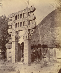 Side view of the East Gateway of the Great Stupa before restoration, Sanchi, Bhopal State